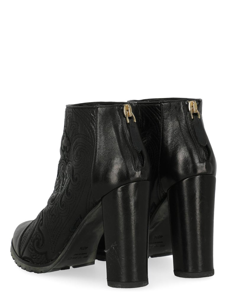 Etro Women Ankle boots Black Leather EU 40.5 In Good Condition For Sale In Milan, IT