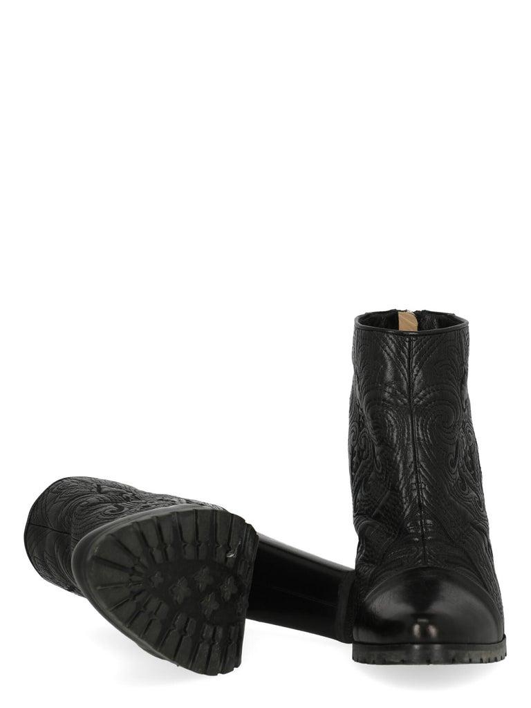 Women's Etro Women Ankle boots Black Leather EU 40.5 For Sale