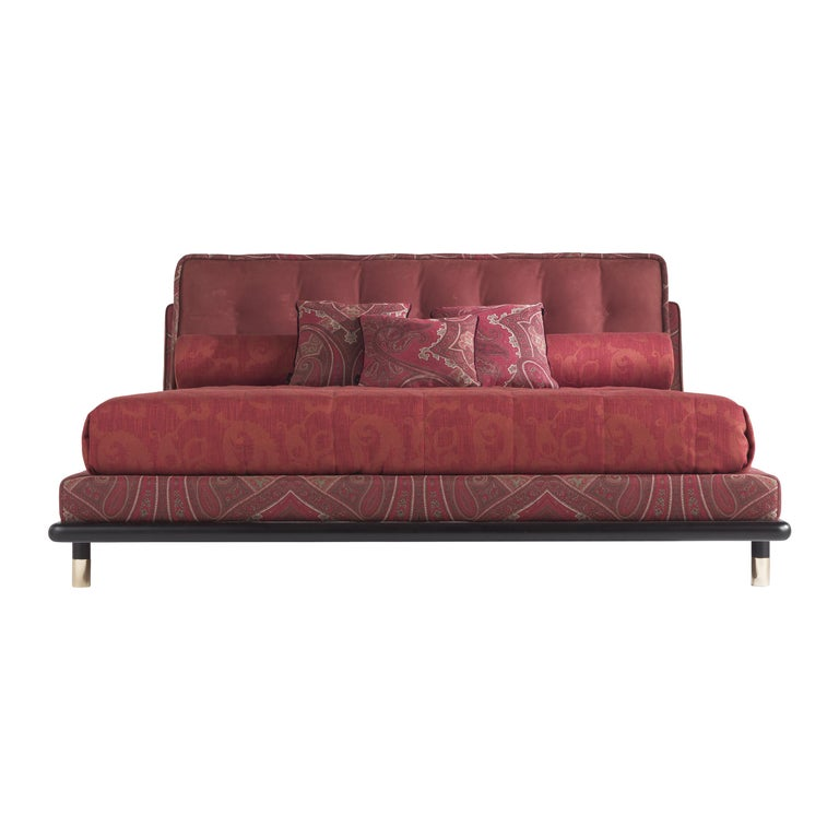 Etro Woodstock Bed in Wood, Red Paisley and Brass For Sale