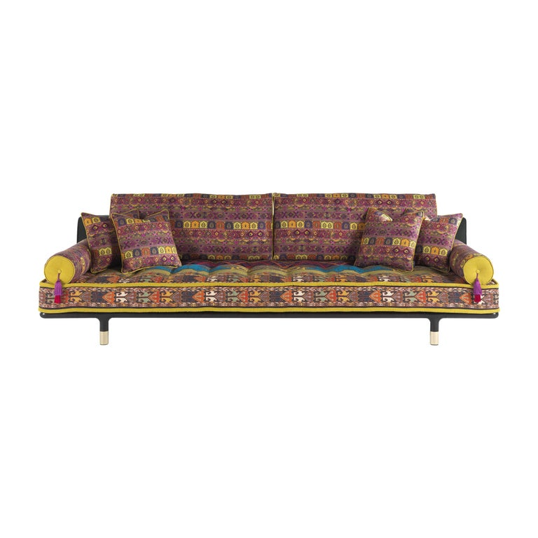 Etro Woodstock Carnival 4-Seat Sofa in Fabric and Wood For Sale