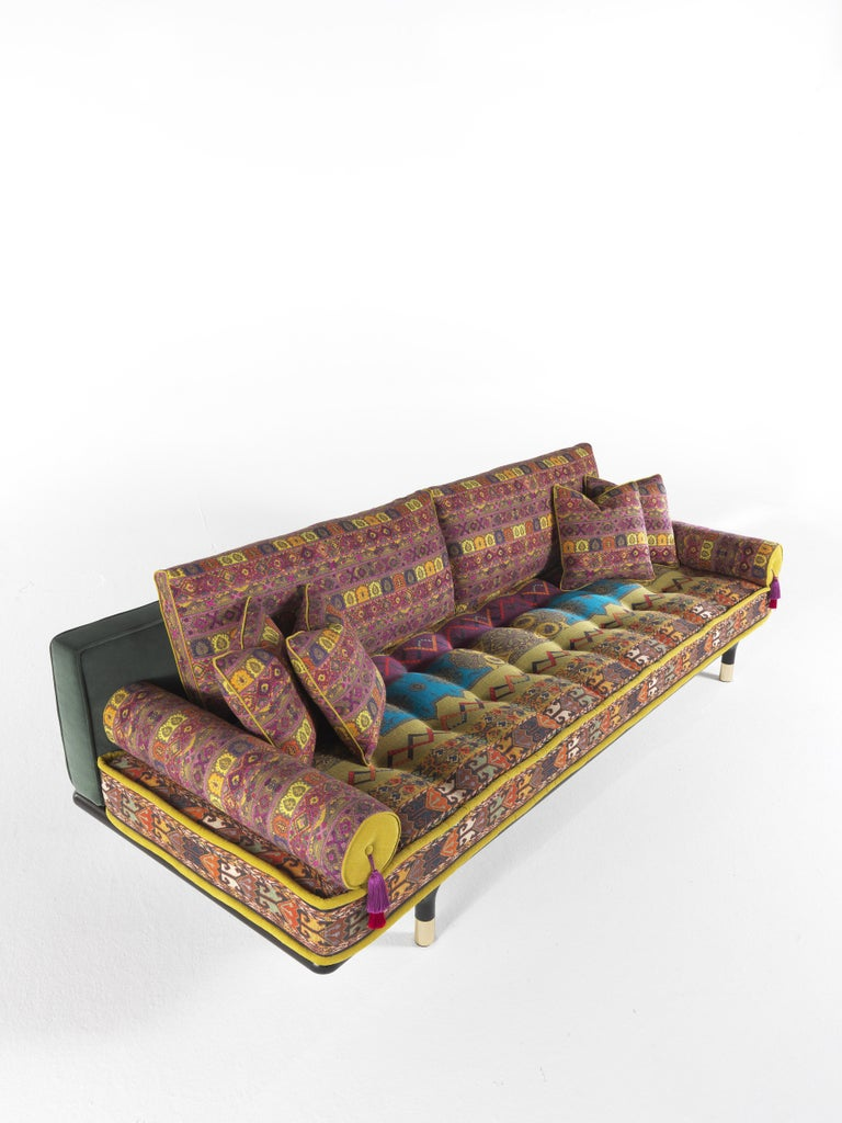 Italian Etro Woodstock Carnival 4-Seat Sofa in Fabric and Wood For Sale