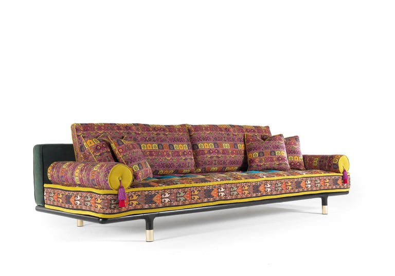 Etro Woodstock Carnival 4-Seat Sofa in Fabric and Wood In New Condition For Sale In Cantu, IT
