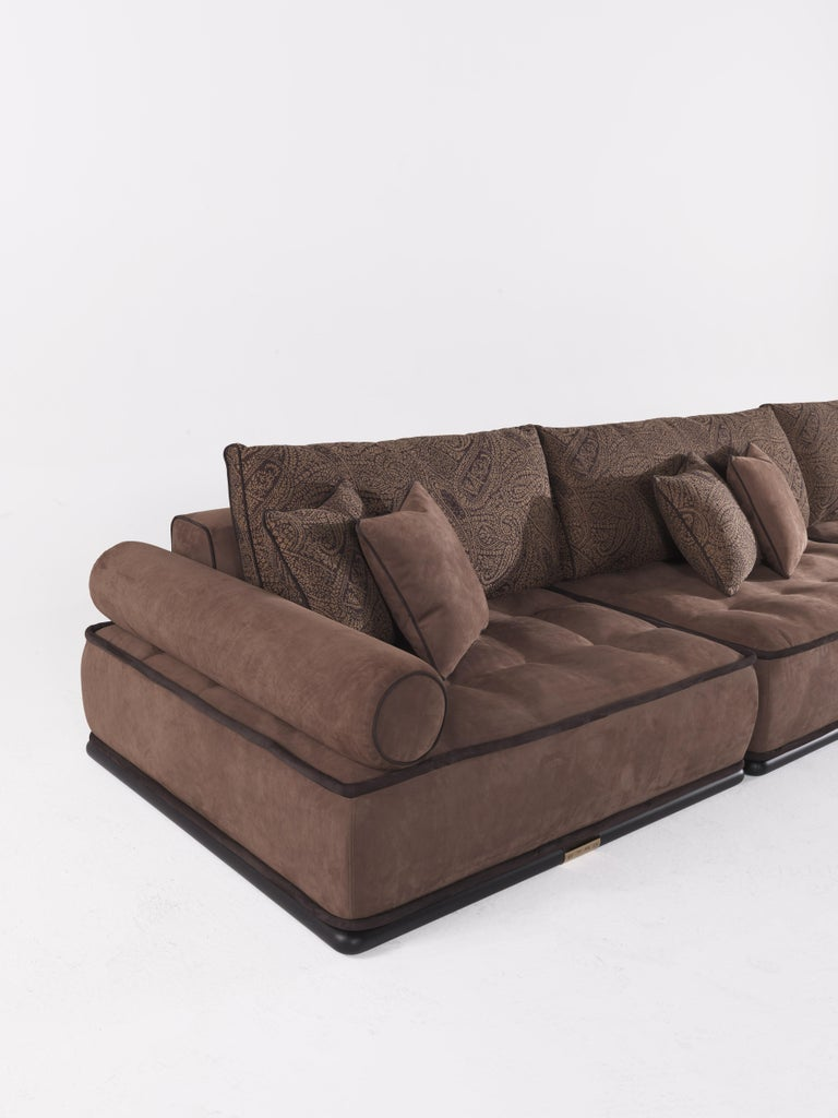 Etro Woodstock Modular Sectional Sofa Set in Fabric and Wood