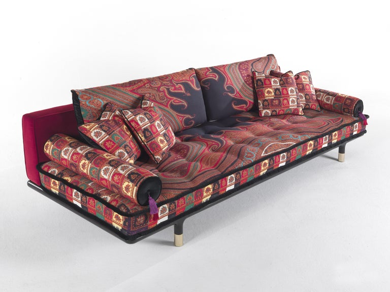 Modern Etro Woodstock Mountain 4-Seat Sofa in Velvet and Wood For Sale
