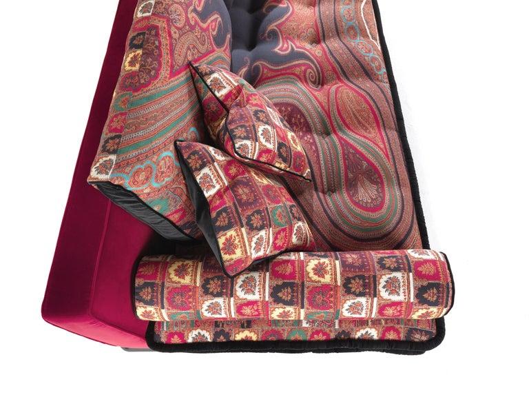 Italian Etro Woodstock Mountain 4-Seat Sofa in Velvet and Wood For Sale