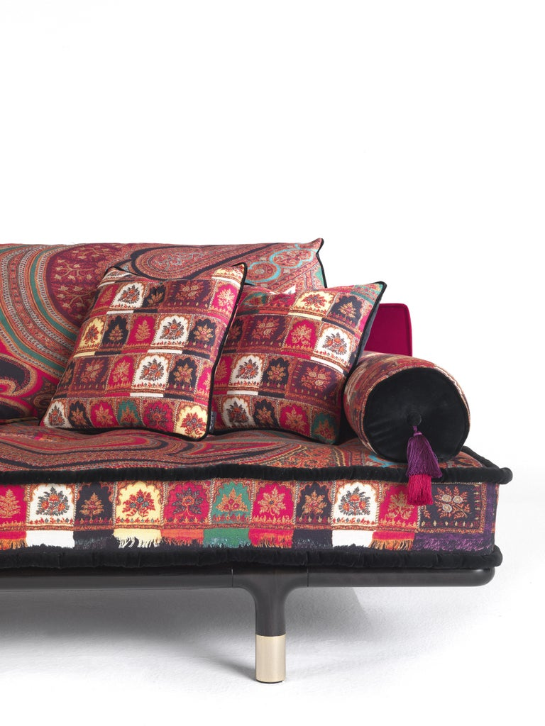 Contemporary Etro Woodstock Mountain 4-Seat Sofa in Velvet and Wood For Sale