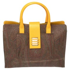 Etro Yellow/Brown Paisley Print Coated Canvas and Leather Tote