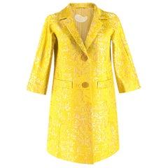 Etro Yellow Jacquard Linen & Silk Jacket IT 38