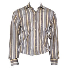 Etro Yellow & Navy Blue Striped Cotton Button Front Shirt S