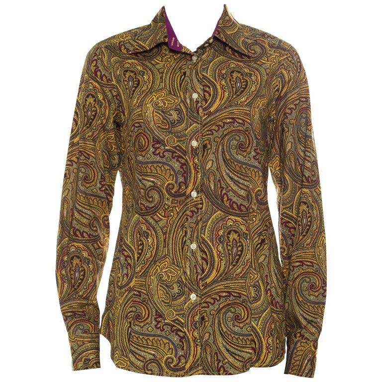 1fa24b2158d Etro Yellow Paisley Printed Cotton Contrast Trim Detail Long Sleeve Blouse  M For Sale