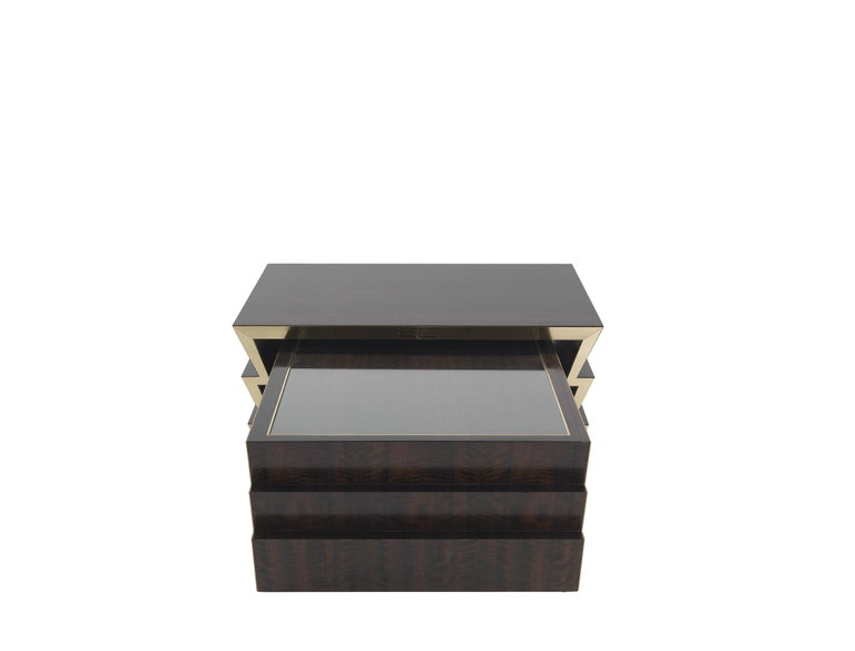 Italian Etro Ziggy Low Central Table in Wood and Polished Brass For Sale
