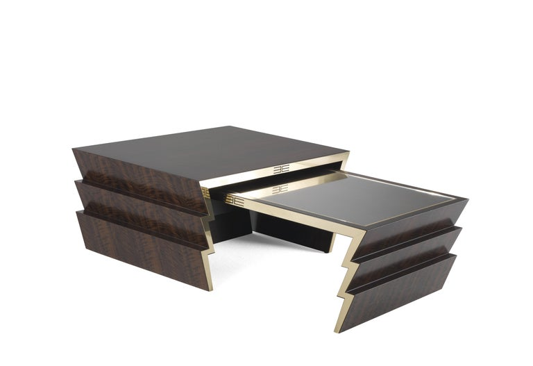 Etro Ziggy Low Central Table in Wood and Polished Brass In New Condition For Sale In Cantu, IT