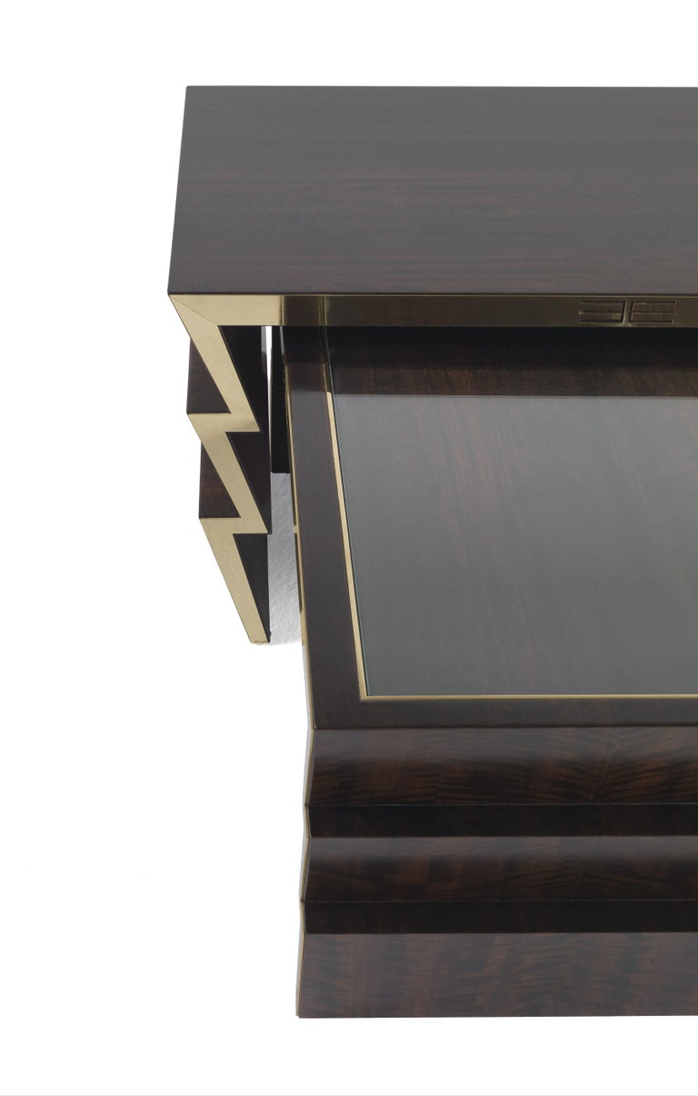 Contemporary Etro Ziggy Low Central Table in Wood and Polished Brass For Sale