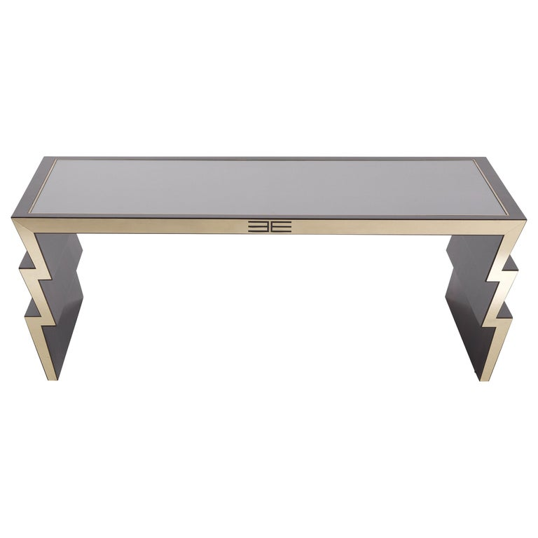 Etro Ziggy Low Central Table in Wood and Polished Brass For Sale