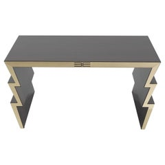 Etro Ziggy Tall Central Table in Wood and Polished Brass