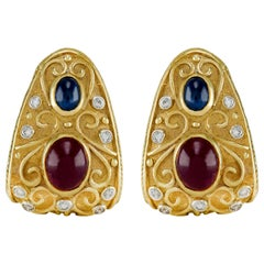 Etruscan 18 Karat Cabochon Ruby and Sapphire Dimond Earring