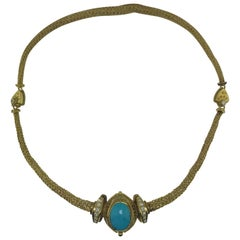 Etruscan 18 Karat Gold Persian Turquoise and Diamond Fancy Estate Necklace