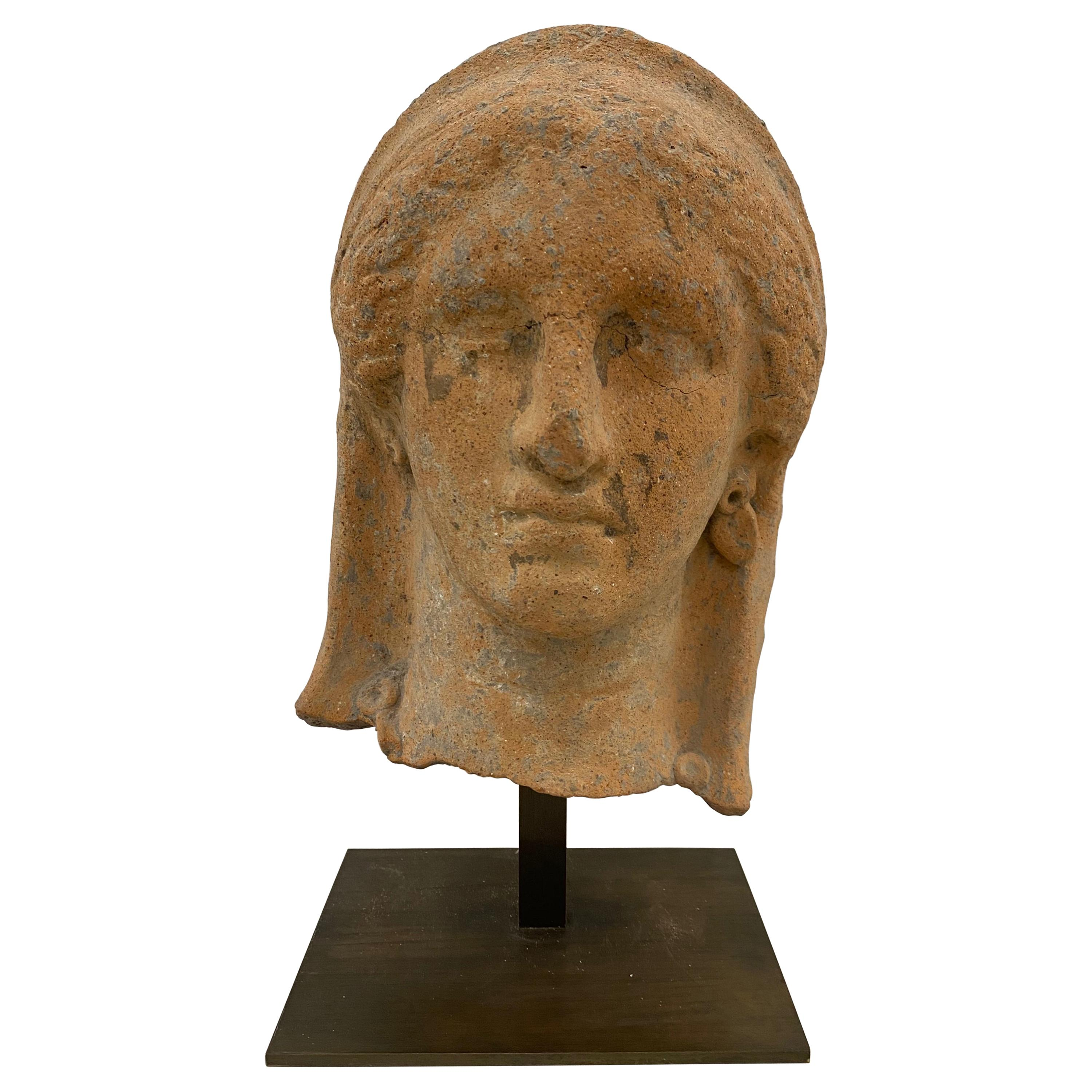 Etruscan Antiquity Terracotta Head with Stand