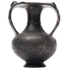 "Etruscan ""Bucchero"" Black Ware Two Handle Vase"