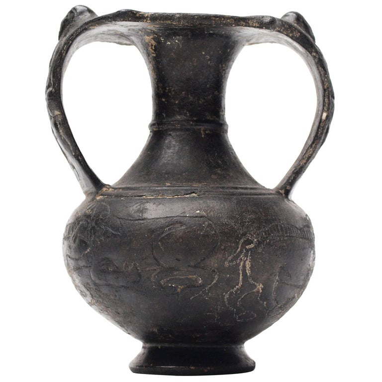 Etruscan Bucchero Black Ware Two Handle Vase For Sale At 1stdibs