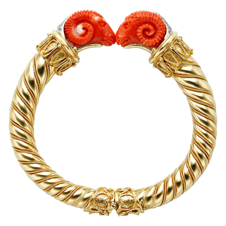 Etruscan Carved Coral Rams and Diamond 18 Karat Yellow Gold Bangle Bracelet