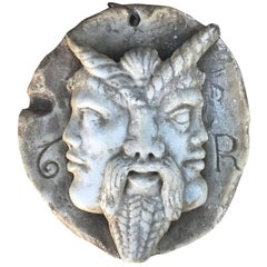 Etruscan Double Faced Theater Mask in Marble