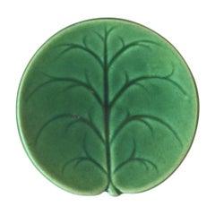 Etruscan Green Majolica Leaf Butter Pat, circa 1890