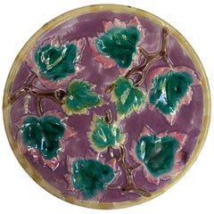 Etruscan Majolica Maple Leaf Plate on Purple Ground, by Griffin, Smith & Hill