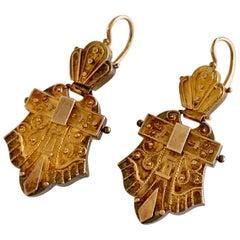 Etruscan Revival 14 Karat Yellow Gold Drop Earrings