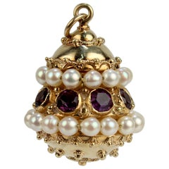 Etruscan Revival 18 Karat Gold, Amethyst, and Pearl Charm or Pendant
