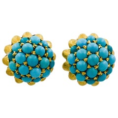 Etruscan Revival 18 Karat Yellow Gold Turquoise Earrings