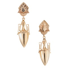 Etruscan Revival 19th Century Yellow Rose Gold Dangle Earrings