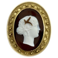 Etruscan Revival Cameo Brooch Pendant