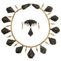 Castellani (Attr.) Etruscan Necklace and Brooch, Lava & Gold, Italy, circa 1850