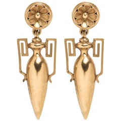 Etruscan Revival Gold Amphora Earrings