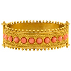 Etruscan Revival Gold and Coral Hinged Bangle