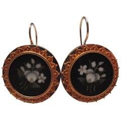 Etruscan Revival Gold Pietra Dura Earrings