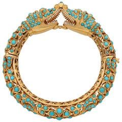 Etruscan Revival Persian Turquoise Snake Bangle 74 Grams 14 Karat Bangle