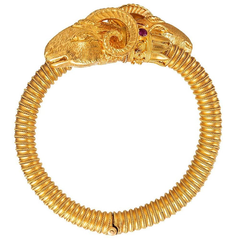 Etruscan Revival Ram's Head Bracelet In Good Condition For Sale In Carmel-by-the-Sea, CA
