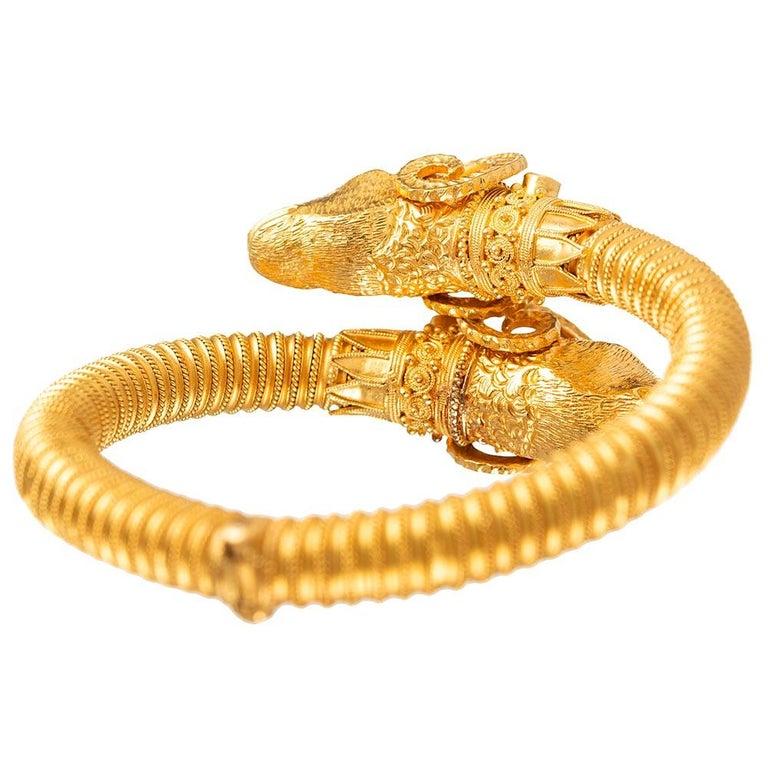 Women's or Men's Etruscan Revival Ram's Head Bracelet For Sale