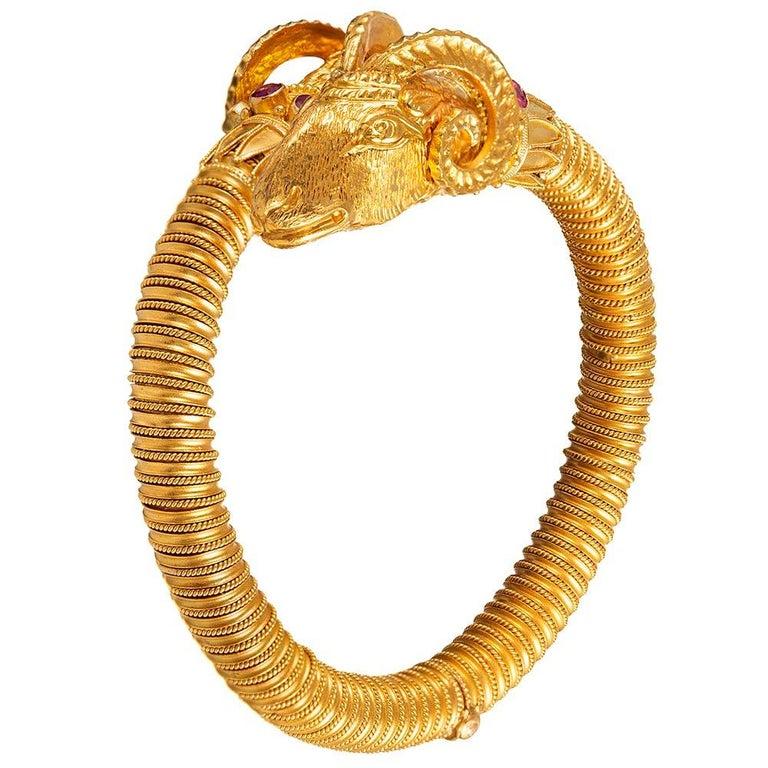 Etruscan Revival Ram's Head Bracelet For Sale 1