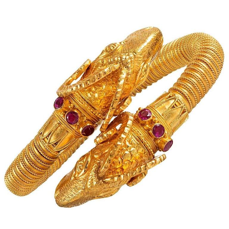 Etruscan Revival Ram's Head Bracelet For Sale