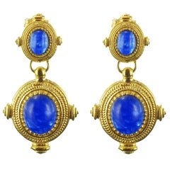 Etruscan Revival Vermeil Blue Crystal Dangle Earrings
