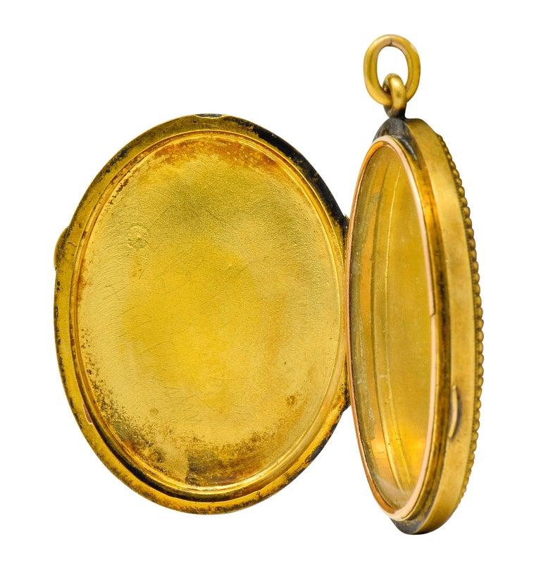 Etruscan Revival Victorian Enamel 14 Karat Gold Beaded Locket, circa 1870 For Sale 7