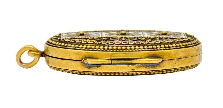 Etruscan Revival Victorian Enamel 14 Karat Gold Beaded Locket, circa 1870 For Sale 8