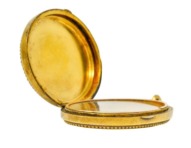 Etruscan Revival Victorian Enamel 14 Karat Gold Beaded Locket, circa 1870 For Sale 10