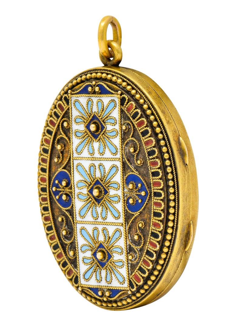 Women's or Men's Etruscan Revival Victorian Enamel 14 Karat Gold Beaded Locket, circa 1870 For Sale