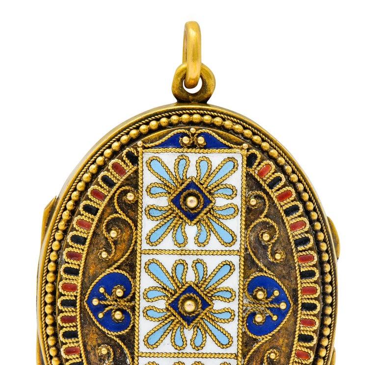 Etruscan Revival Victorian Enamel 14 Karat Gold Beaded Locket, circa 1870 For Sale 1
