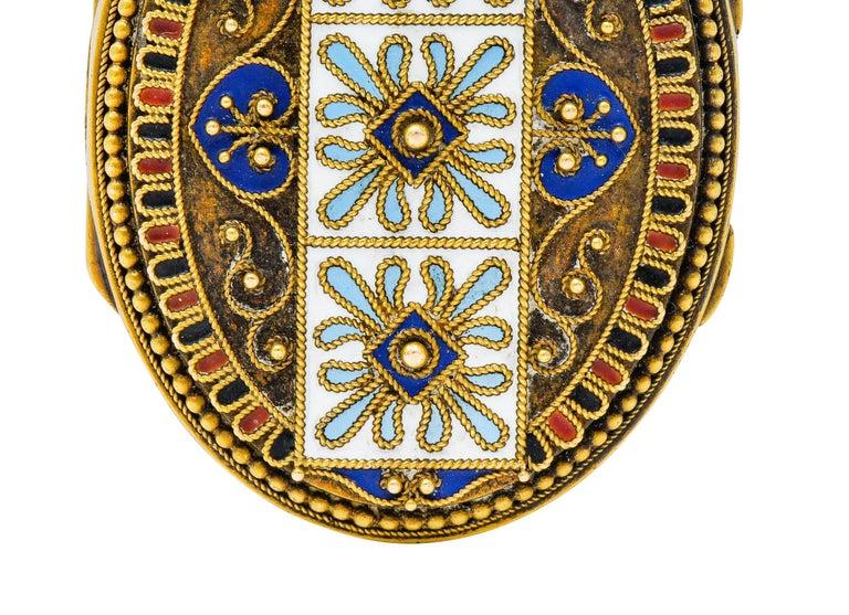 Etruscan Revival Victorian Enamel 14 Karat Gold Beaded Locket, circa 1870 For Sale 2