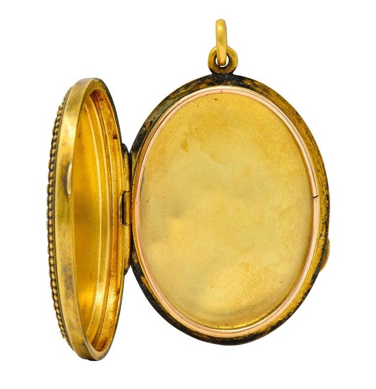 Etruscan Revival Victorian Enamel 14 Karat Gold Beaded Locket, circa 1870 For Sale 5